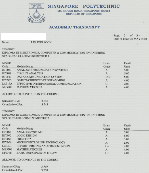 academic transcripts
